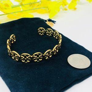 Tory Burch Gold Logo Cuff Shiny Brass Bracelet NEW